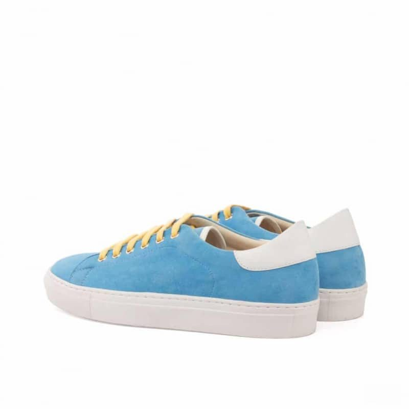 Custom Made Trainers in Turquoise Kid Suede with White Box Calf