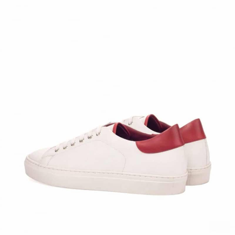 Custom Made Trainers in White Box Calf with Red Painted Calf Leather