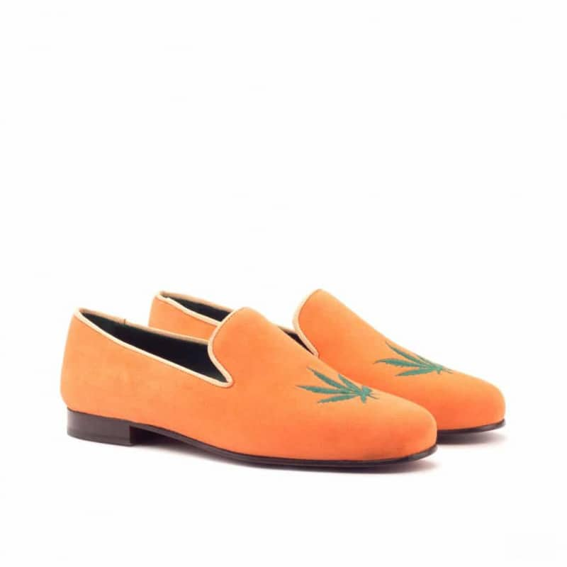 Custom Made Wellington Slippers in Orange Suede with Green Leaf Embroidery