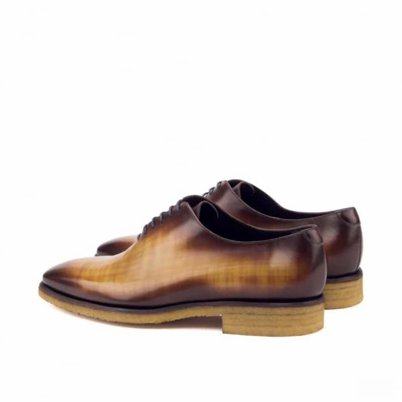 Custom Made Whole Cut Dress Shoes in Raw Crust Italian Leather with a Cognac and Burgundy Hand Patina
