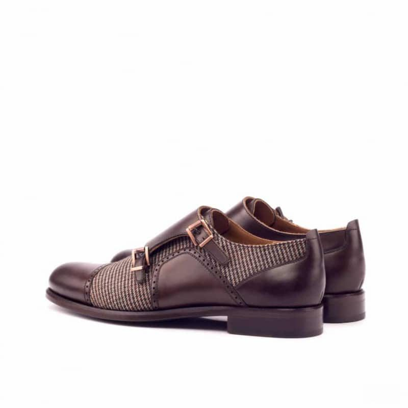 Custom Made Women's Double Monks in Dark Brown Polished Calf and Painted Calf with Tweed