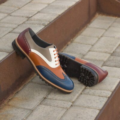 Custom Made Women's Full Brogues in Multi-Color Box and Painted Calf Leather