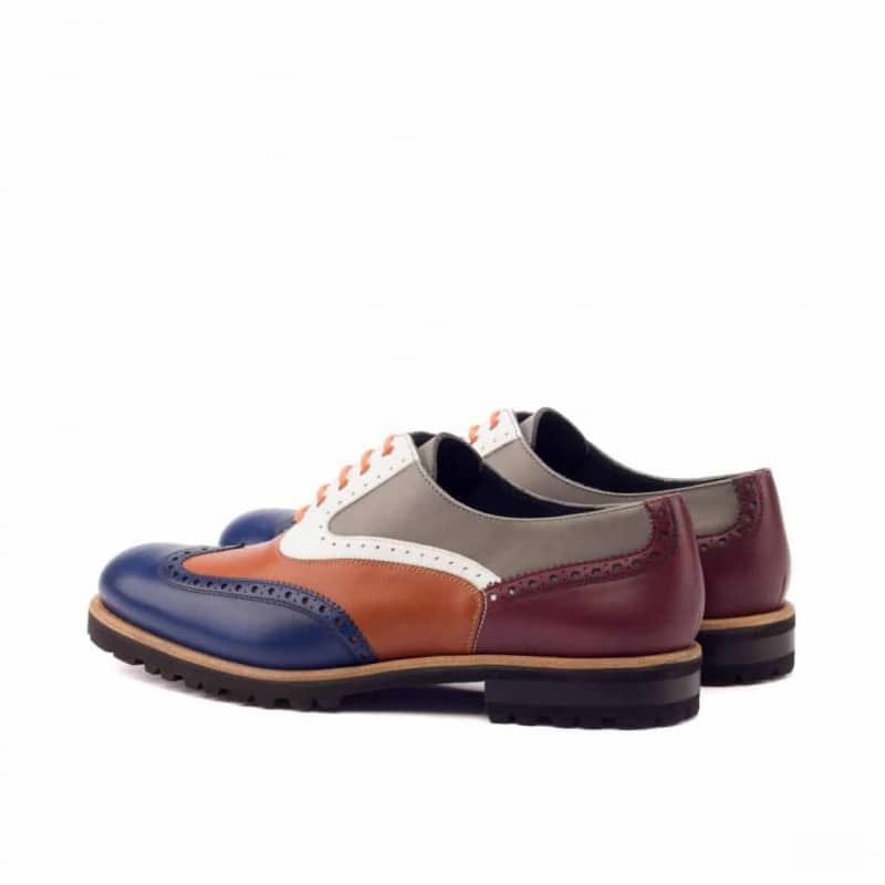 Custom Made Women's Full Brogues in Multi Color Box and Painted Calf Leather