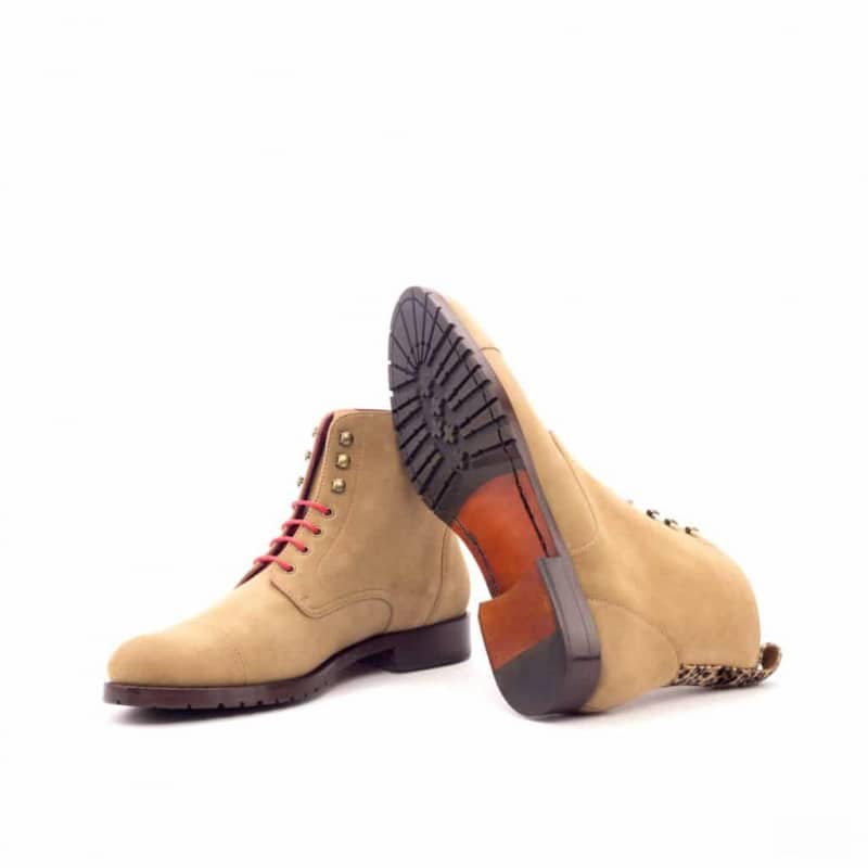 Custom Made Women's Lace Up Captoe Boot in Camel Kid Suede with Leopard Print Flannel