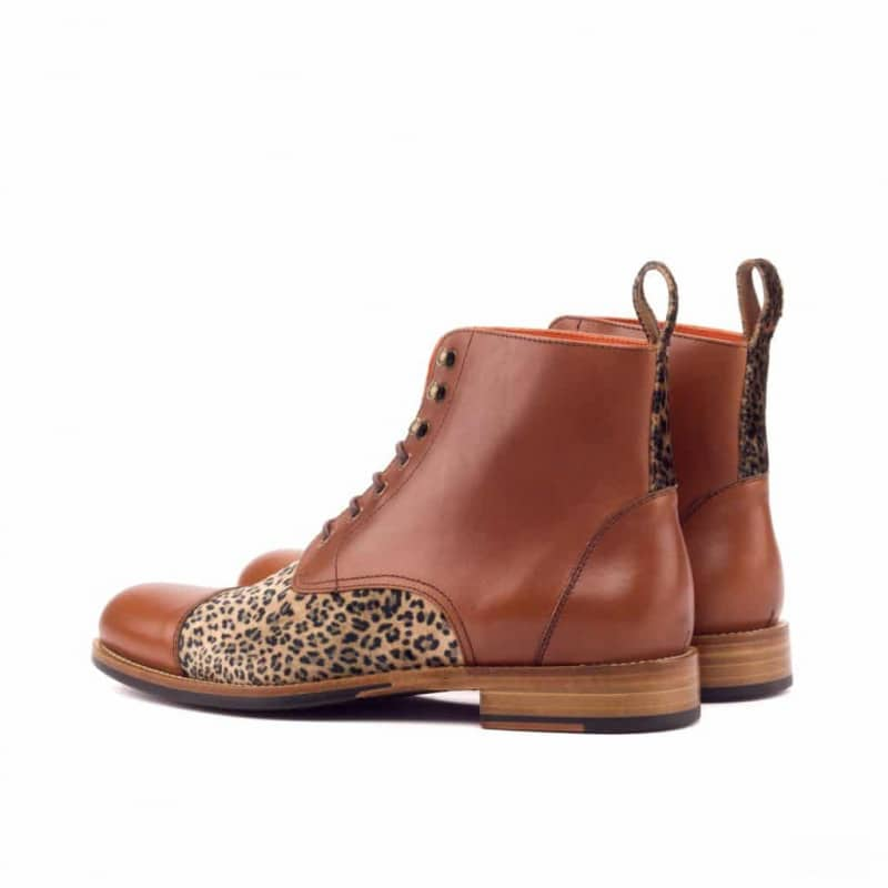 Custom Made Women's Lace Up Captoe Boot in Medium Brown Painted Calf and Leopard Print Flannel