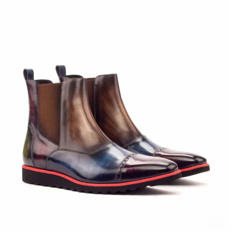 Custom Made Chelsea Boot Multi in Italian Raw Crust Leather with Multi Color Hand Patina