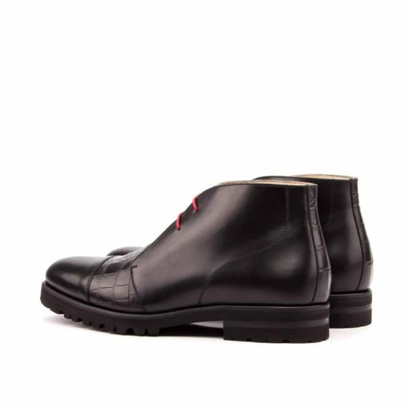 Custom Made Chukka Boot in Black Box Calf with Black Croco