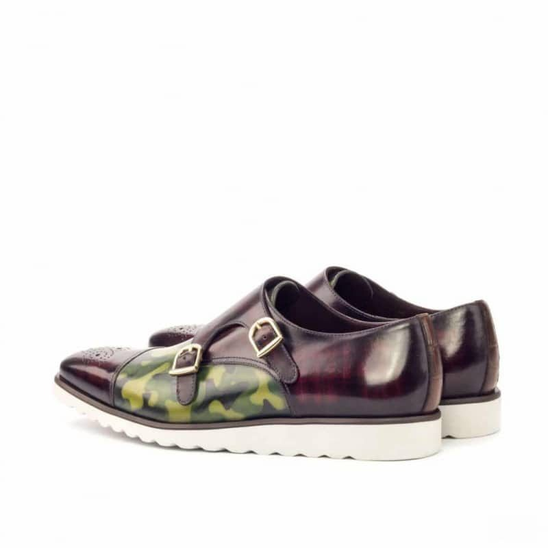 Custom Made Double Monks in Italian Raw Crust Leather with Khaki Camo and Burgundy Hand Patina Finish and Brown Croco