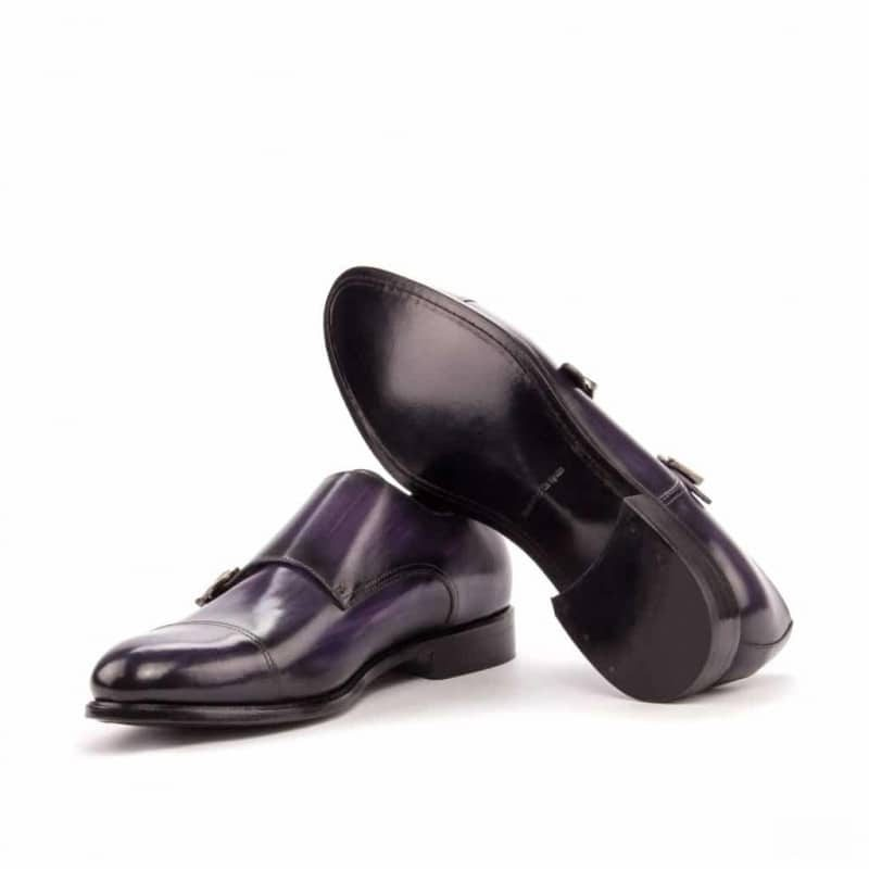 Custom Made Double Monks in Italian Raw Crust Leather with a Purple Hand Patina Finish
