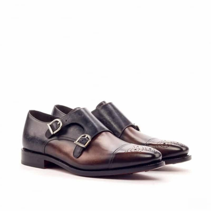 Custom Made Goodyear Welt Double Monks in Italian Raw Crust Leather with Brown and Grey Hand Patina Finish
