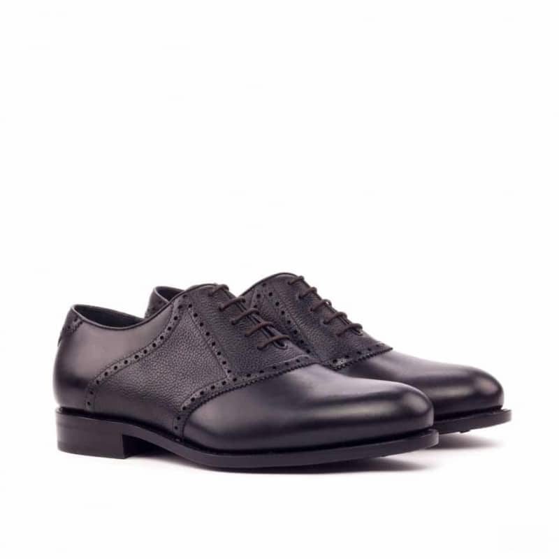 Custom Made Goodyear Welt Saddle Shoes in Black Box Calf with Black Painted Full Grain Leather