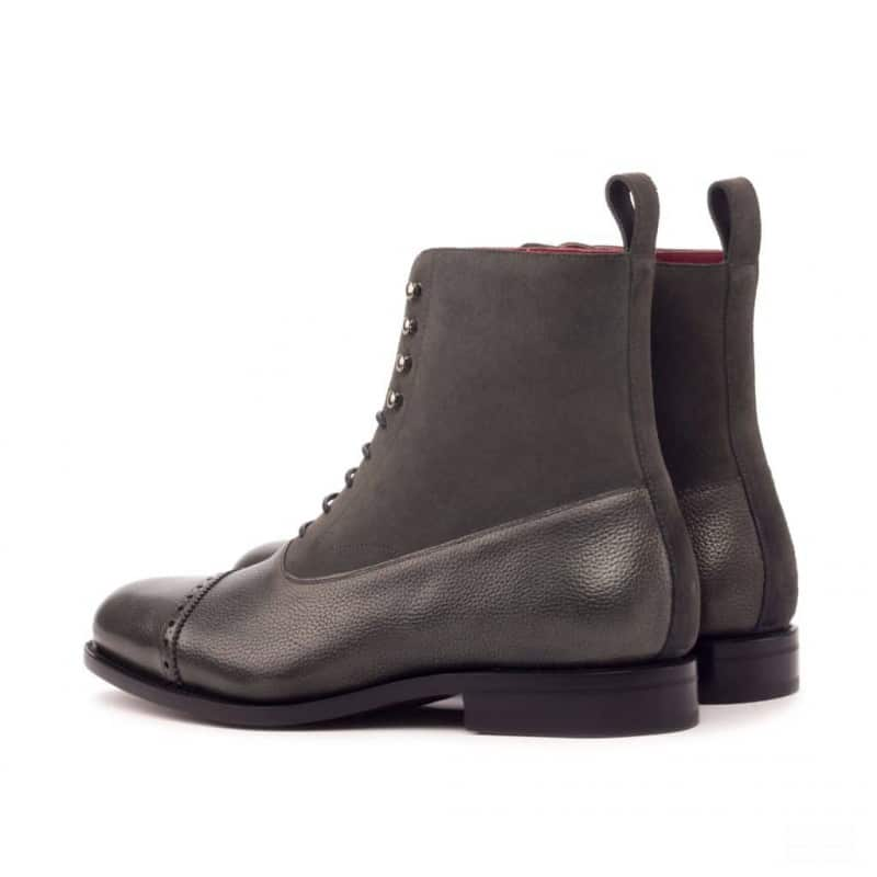 Custom Made Goodyear Welted Balmoral Boot in Grey Painted Full Grain Leather with Grey Luxe Suede