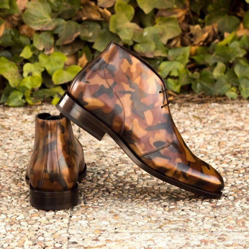 Custom Made Goodyear Welted Chukka Boots in Italian Raw Crust Leather with a Brown Camo Hand Patina Finish