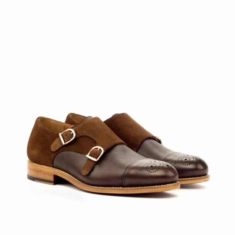 Custom Made Goodyear Welted Double Monks in Dark Brown Painted Full Grain Leather with Medium Brown Luxe Suede