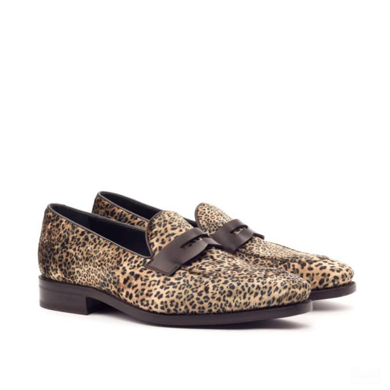 Custom Made Goodyear Welted Mask Loafers in Leopard Print with Dark Brown Box Calf and Black Croco