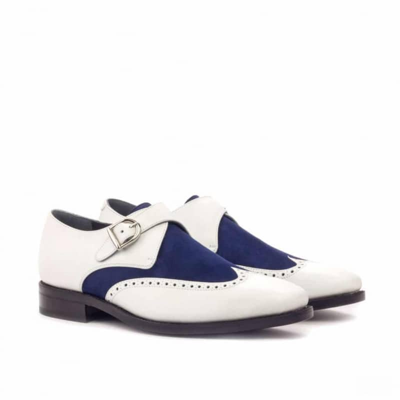 Custom Made Goodyear Welted Single Monks in White Box Calf with Navy Blue Kid Suede