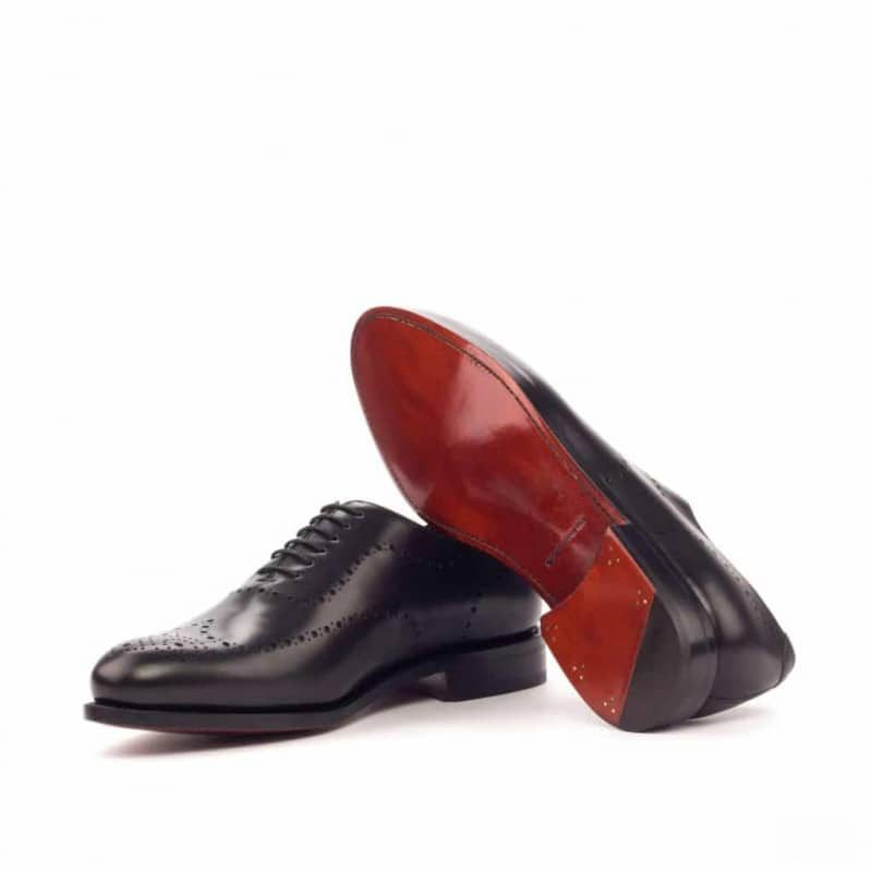 Custom Made Goodyear Welted Whole Cut Dress Shoes in Black Box Calf and Black Pebble Grain Leather