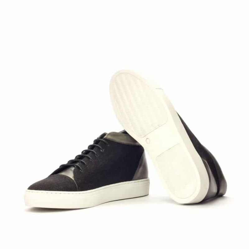 Custom Made High Top in Black Linen and Grey Painted Calf Leather