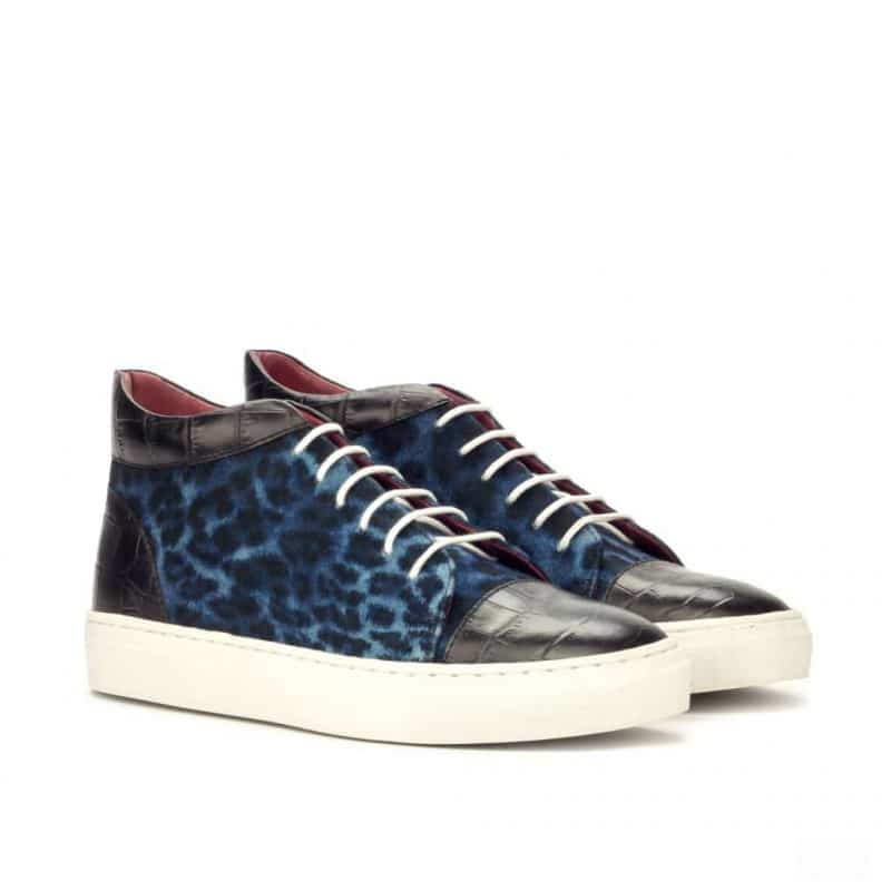 Custom Made High Top in Leopard Print and Black Croco Embossed Calf Leather
