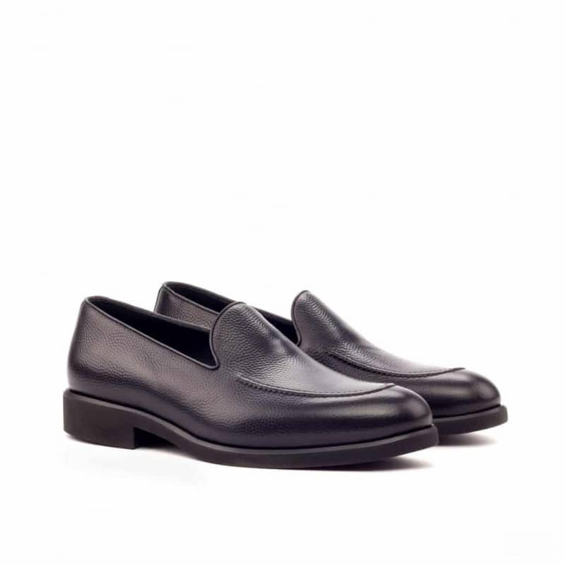 Custom Made Loafers in Black Pebble Grain Leather
