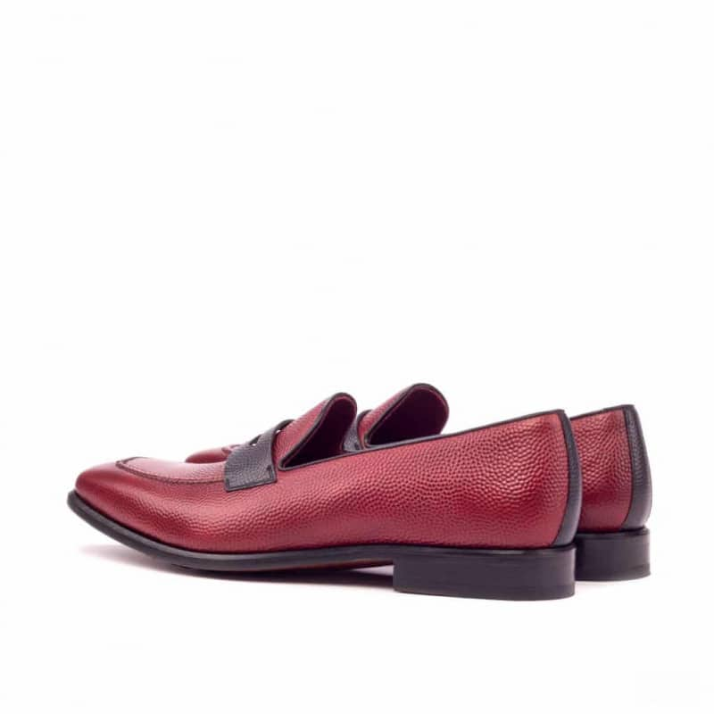 Custom Made Loafers in Red Pebble Grain Leather with Black Pebble Grain Mask
