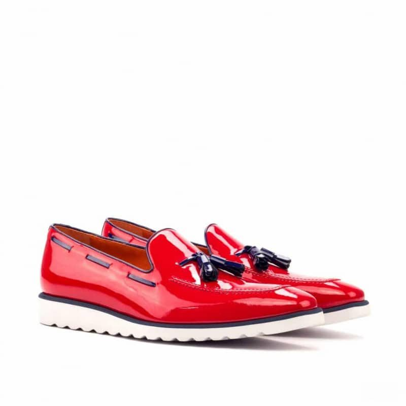 Custom Made Loafers in Red and Cobalt Blue Patent Leather with Sportwedge Sole