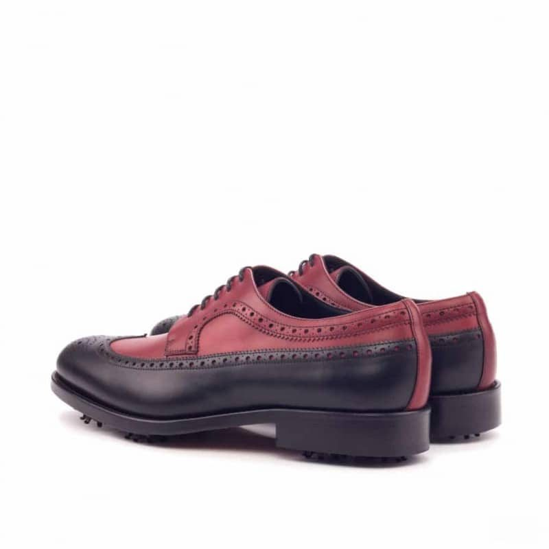 Custom Made Long Wingtip Blucher Golf Shoe in Black and Red Painted Calf Leather with Softspikes®