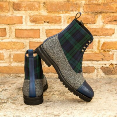 Custom Made Men's Balmoral Boot in Blackwatch and Herringbone with Navy Blue Painted Calf Leather