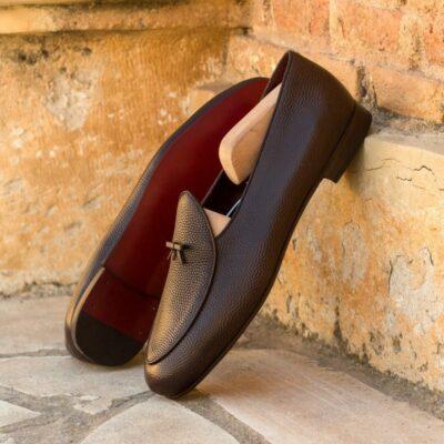 Custom Made Men's Belgian Slippers in Dark Brown Pebble Grain Leather