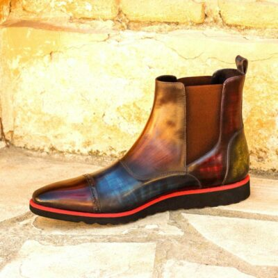 Custom Made Men's Chelsea Boot Multi in Italian Calf Leather with Multi Color Hand Patina