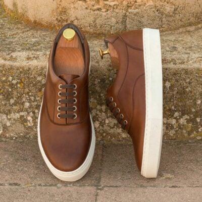 Custom Made Men's Cupsole Top Sider in Medium Brown Box Calf Leather