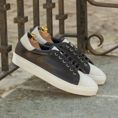 Custom Made Men's Cupsole Trainers in Black Painted Calf with White Kid Suede