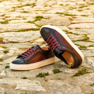 Custom Made Men's Cupsole Trainers in Italian Calf Leather with a Burgundy and Grey Hand Patina Finish