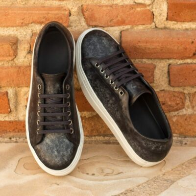 Custom Made Men's Cupsole Trainers in Italian Calf Leather with a Grey Hand Patina Finish