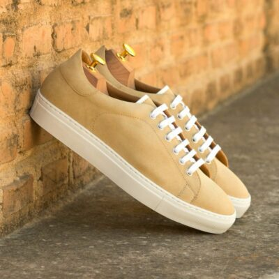 Custom Made Men's Cupsole Trainers in Sand Luxe Suede with White Box Calf