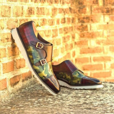 Custom Made Men's Double Monks in Italian Calf Leather with Khaki Camo and Burgundy Hand Patina Finish and Brown Croco