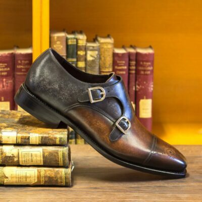Custom Made Men's Goodyear Welt Double Monks in Italian Calf Leather with Brown and Grey Hand Patina Finish