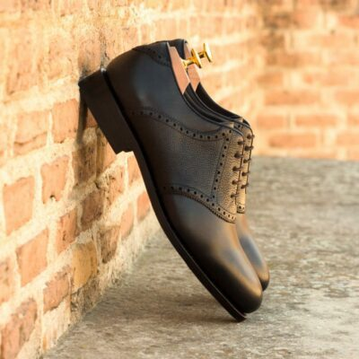 Custom Made Men's Goodyear Welt Saddle Shoes in Black Box Calf with Black Painted Full Grain Leather