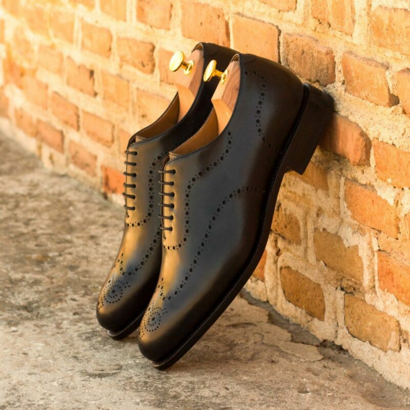 Custom Made Men's Goodyear Welt Wholecut Dress Shoes in Black Box Calf and Black Pebble Grain Leather