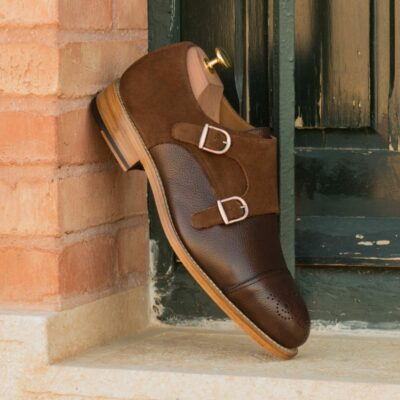 Custom Made Men's Goodyear Welted Double Monks in Dark Brown Painted Full Grain Leather with Medium Brown Luxe Suede