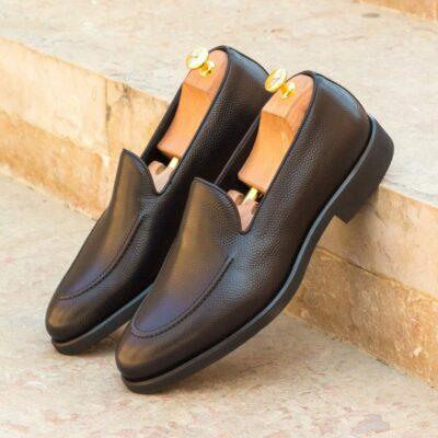 Custom Made Men's Loafers in Black Pebble Grain Leather