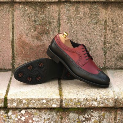 Custom Made Men's Longwing Blucher Golf Shoe in Black and Red Painted Calf Leather with Softspikes®