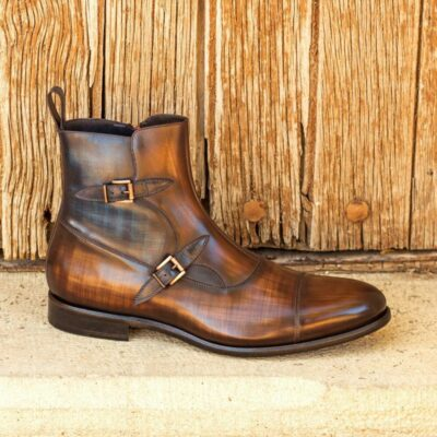 Custom Made Men's Octavian Boot in Italian Calf Leather with a Brown and Denim Blue Hand Patina Finish