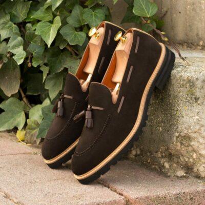 Custom Made Men's Tassel Loafers in Dark Brown Luxe Suede with Camel Luxe Suede and Dark Brown Painted Calf