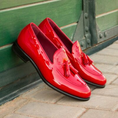 Custom Made Men's Tassel Loafers in Red Patent Leather