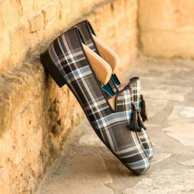 Custom Made Men's Wellington Slippers in Plaid with Black Calf Leather