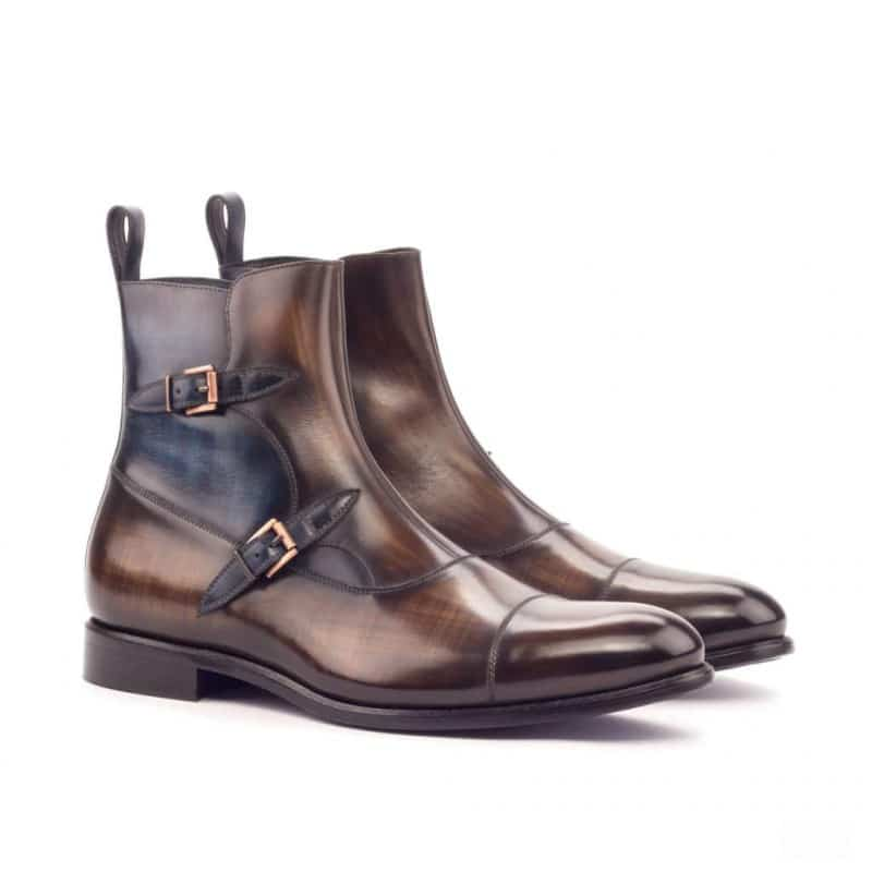 Custom Made Octavian Boot in Italian Raw Crust Leather with a Brown and Denim Blue Hand Patina Finish