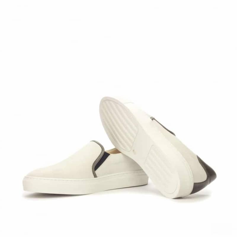 Custom Made Slip On in White Kid Suede with Grey Painted Full Grain Leather