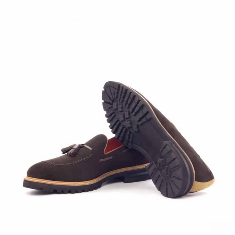 Custom Made Tassel Loafers in Dark Brown Luxe Suede with Camel Luxe Suede and Dark Brown Painted Calf