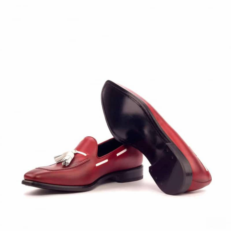 Custom Made Tassel Loafers in Red Painted Calf with White Box Calf Tassels